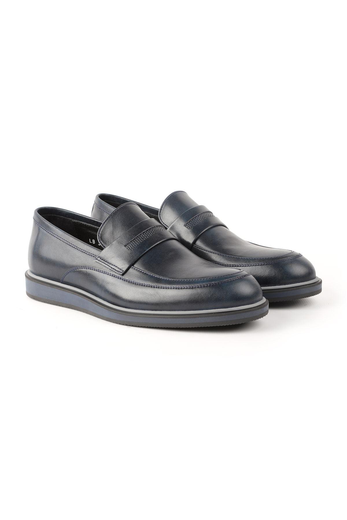 Libero L3668 Navy Blue Loafer Men's Shoes